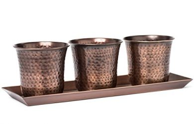 Set of three succulent pots with a matching tray - perfect for a window or any place in the home or office. Antique hammered copper finish.