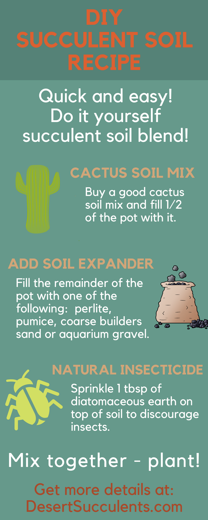 It is easy to make a cactus and succulent soil with this DIY cactus soil mix.