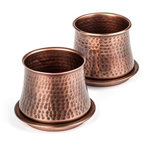 Set of 2 hammered copper pots with drainage holes with matching copper trays.